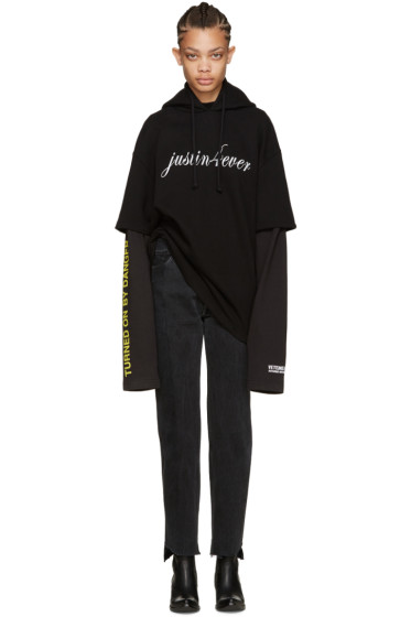 Vetements - Black 'Justin Forever' Double Sleeve Hoodie