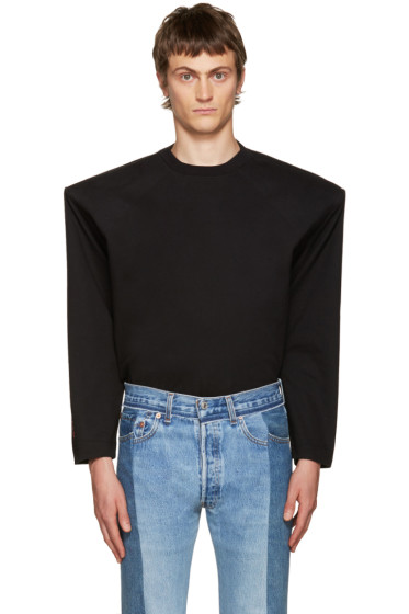 Vetements - Black 'Total Fucking Darkness' Football Shoulder T-Shirt
