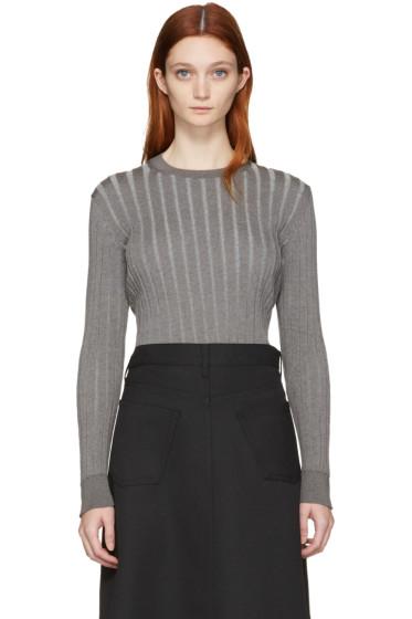 Comme des Garçons Comme des Garçons - Grey Ribbed Crewneck Sweater