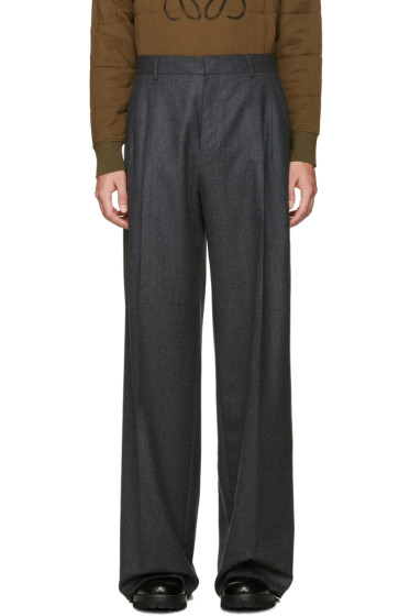 Loewe - Grey Wide-Leg Wool Trousers