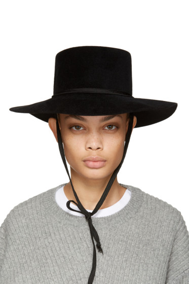Clyde - Black Felt Gaucho Hat