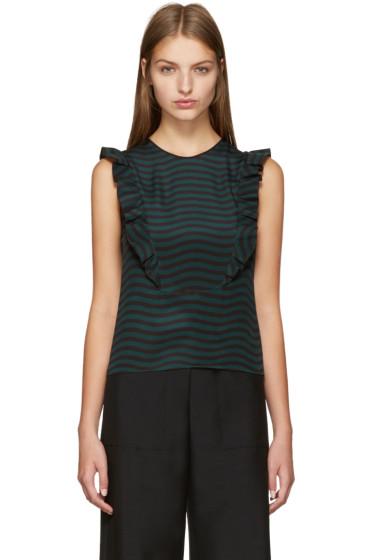 Fendi - Black & Green Ruffled Top