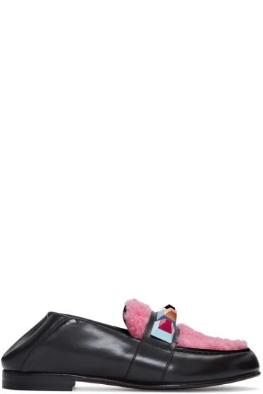 Fendi - Black Shearling Loafers