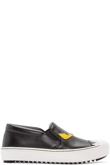 Fendi - Black Bug Eyes Slip-On Sneakers