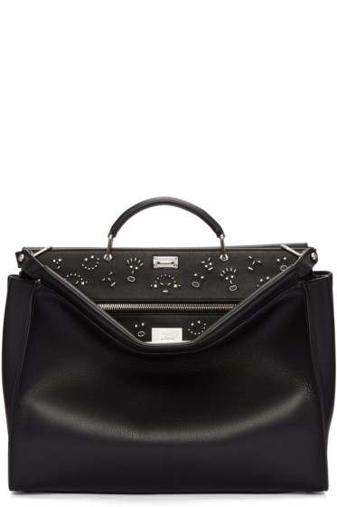 Fendi - Black Large Studded Faces Peekaboo Tote