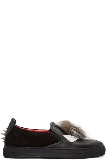 Fendi - Black Fur-Trimmed Slip-On Sneakers
