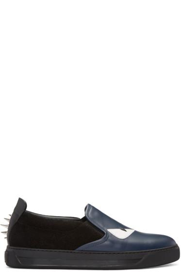 Fendi - Navy Bag Bugs Slip-On Sneakers