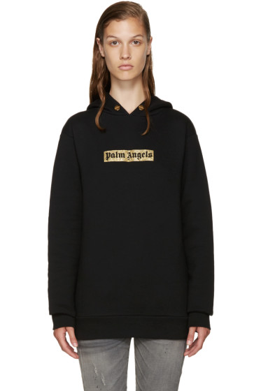 Palm Angels - Black & Gold Logo Hoodie