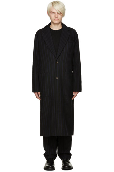 Song for the Mute - Navy & Black Pinstripe Coat
