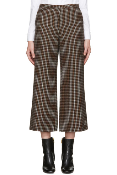 Rosetta Getty - Brown Check Flared Trousers