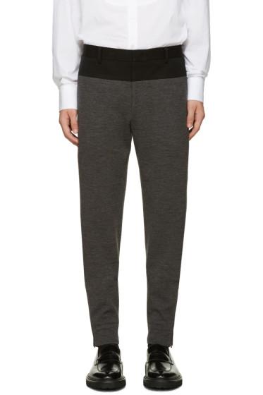 Wooyoungmi - Black & Grey Wool Jersey Trousers