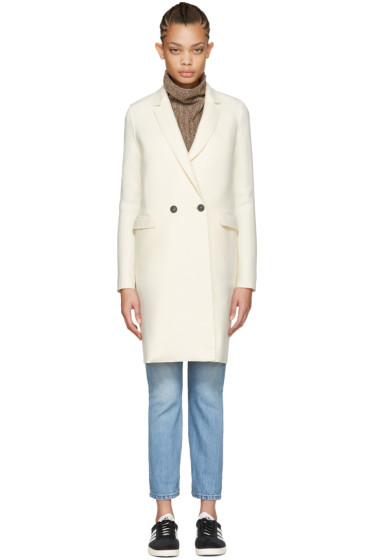 Harris Wharf London - Ivory Wool Double-Breasted Coat