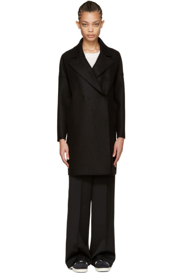 Harris Wharf London - Black Wool Oversized Collar Coat