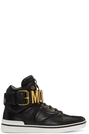 Moschino - Black Logo High-Top Sneakers
