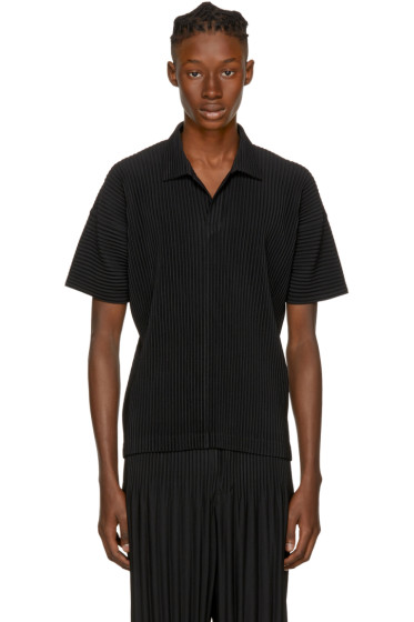 Homme Plissé Issey Miyake - Black Pleated Polo