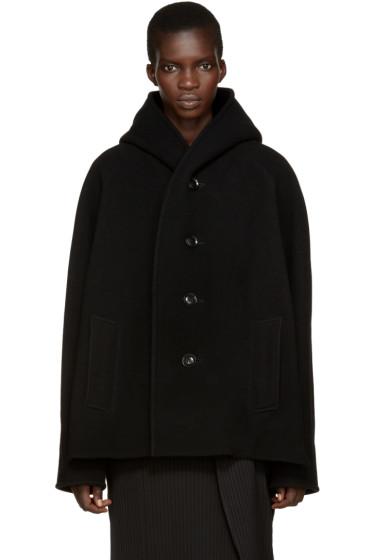 Y's - Black Wool U-Hood Coat