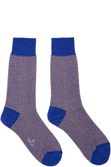 Y's - Blue Metallic Herringbone Socks