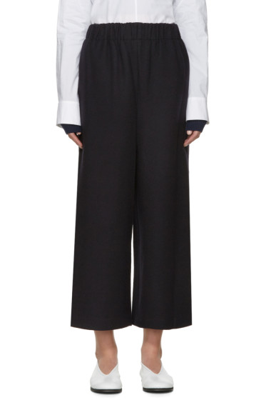 Enfold - Navy Wool Wide-Leg Trousers