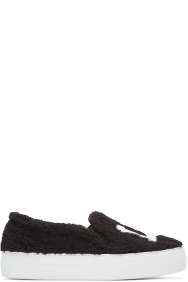 Joshua Sanders - Black Shearling 'LA' Slip-On Sneakers