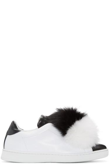 Joshua Sanders - Black & White Fur Pom Pom Sneakers