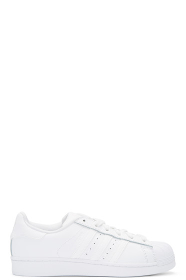 adidas Originals - White Monochromatic Superstar Sneakers