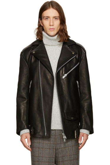 CMMN SWDN - Black Oversized Biker Jacket
