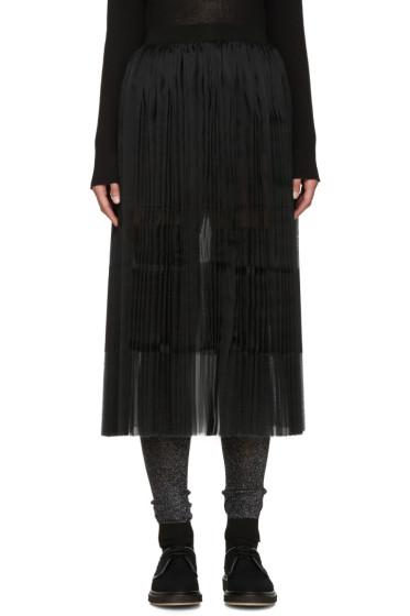 Sara Lanzi - Black Pleated Silk Skirt
