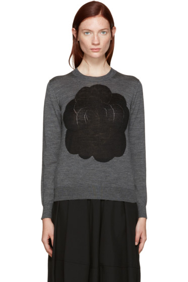 Tricot Comme des Garçons - Grey Intarsia Flower Pullover