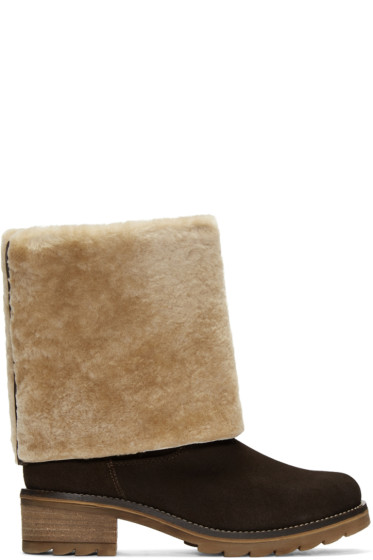 Mr & Mrs Italy - Brown Suede Shearling Boots