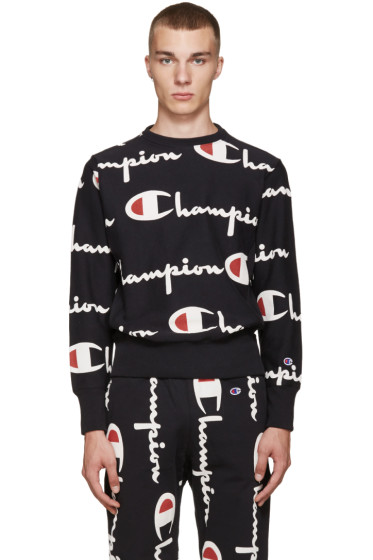 Champion Reverse Weave - Black All Over Logo Pullover