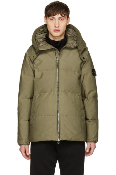 Stone Island - Green Down Hooded Jacket