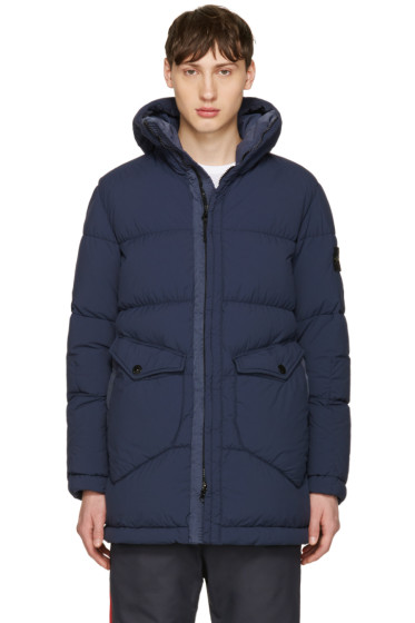 Stone Island - Blue Down Hooded Puffer Jacket