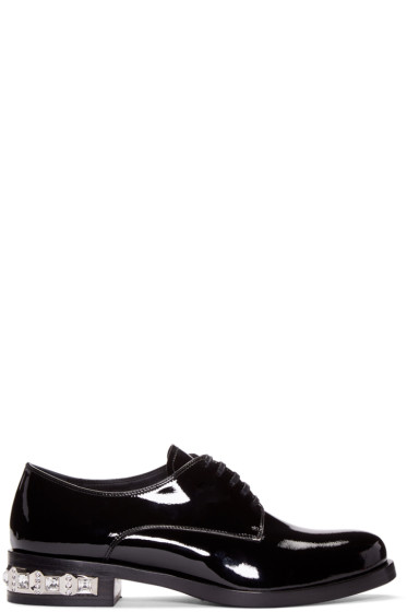 Miu Miu - Black Patent Leather & Crystal Derbys