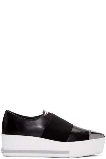 Miu Miu - Black Cap Toe Slip-On Sneakers