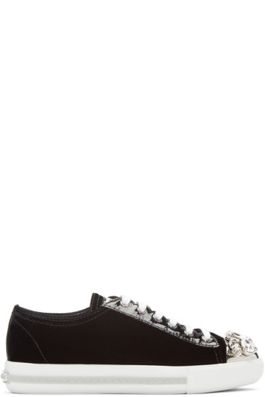 Miu Miu - Black Crystal & Velvet Sneakers