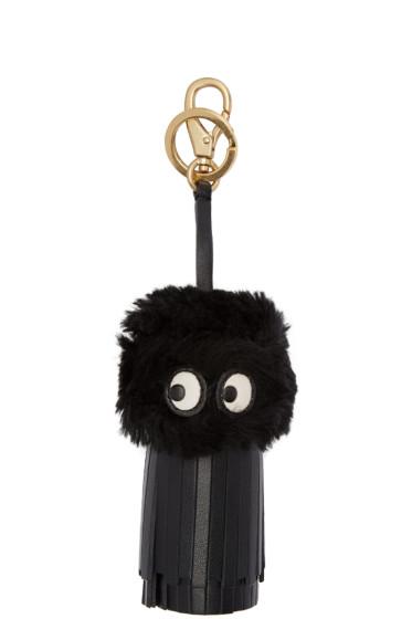 Anya Hindmarch - Black Shearling Ghost Tassel Keychain