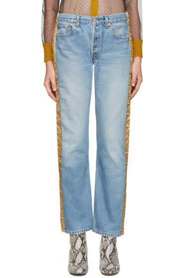 Bless - Blue & Gold Padded Jeans