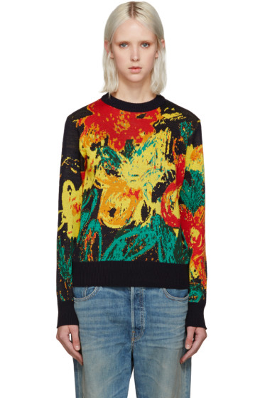Writtenby - Navy Floral Knit Sweater