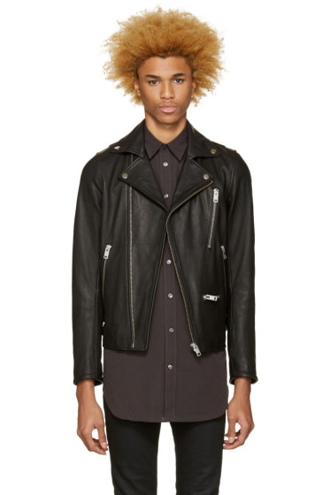 Diesel - Black Leather L-Gibson-1 Biker Jacket