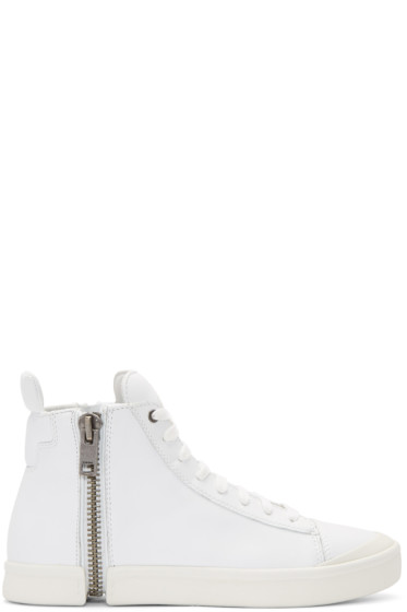 Diesel - White S-Nentish High-Top Sneakers