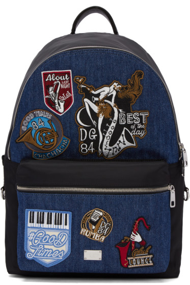 Dolce & Gabbana - Black & Blue Denim Patches Backpack