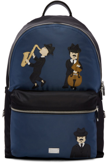 Dolce & Gabbana - Black & Blue Nylon Jazz Players Backpack