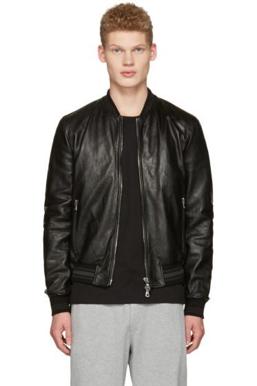 Dolce & Gabbana - Black Washed Leather Bomber Jacket