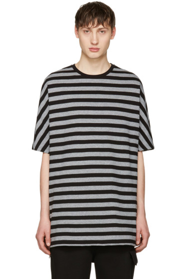Diesel Black Gold - Black & Grey Striped T-Shirt