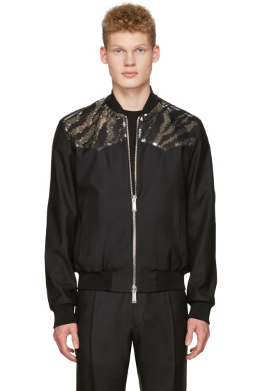 Dsquared2 - Black Embroidered Sequin Bomber Jacket