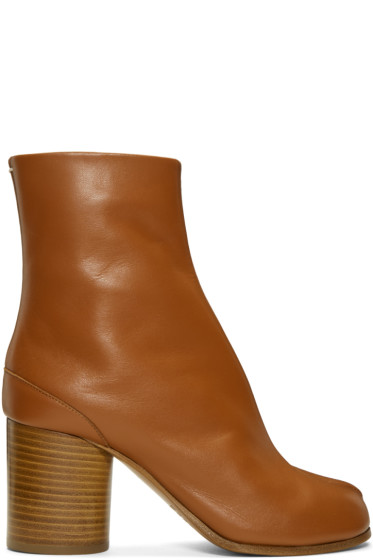 Maison Margiela - Brown Leather Tabi Boots
