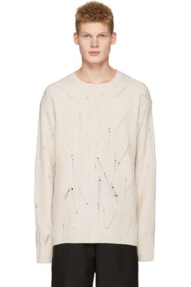 Maison Margiela - Off-White Oversized Distressed Sweater