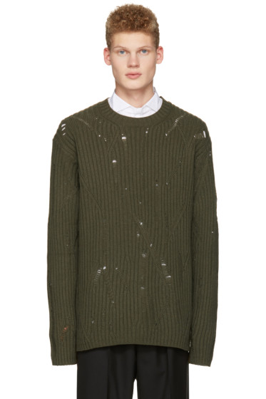 Maison Margiela - Green Oversized Distressed Sweater