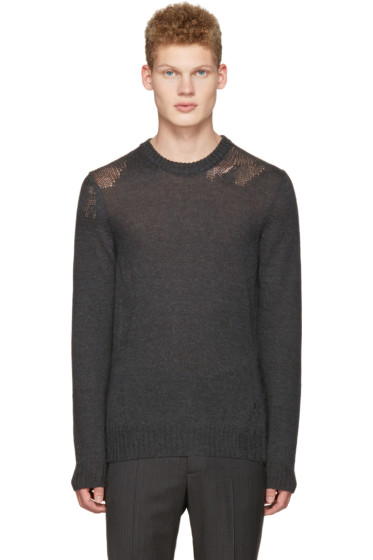 Maison Margiela - Grey Distressed Mohair Sweater