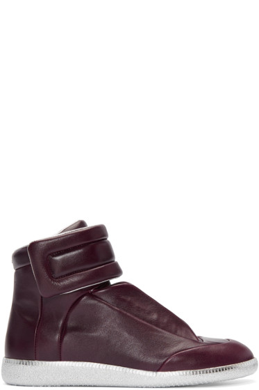Maison Margiela - Burgundy & Silver Future High-Top Sneakers